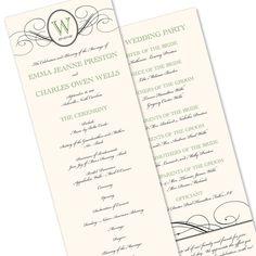 Traditional Wedding Programs Formal Wedding Programs Folded Wedding Programs DEPOSIT