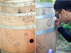 Vineyard wedding If you're holding your reception at a winery, use a wine barrel as your guest book. As long as you can take it with you, it will be a great keepsake for many moons to come. Wine Barrel Guest Book, Wedding Blog, Our Wedding, Wedding Ideas, Dream Wedding, Rustic Wedding, Wedding Stuff, Lilac Wedding, Hotel Wedding