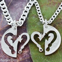 Fish Hook heart couples necklace set Hand Cut Coin by NameCoins