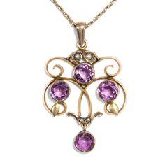 Edwardian Elegance - Feiner Gold-Anhänger mit Amethysten & Perlen, England um 1905 von Hofer Antikschmuck aus Berlin // #hoferantikschmuck #antik #schmuck #Anhänger #antique #jewellery #jewelry // www.hofer-antikschmuck.de