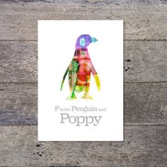 P is for Penguin  personalized name poster by PaperPaper on Etsy, £14.00