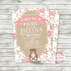 Teddy Bear Picnic Birthday Invitation - Teddy Bear Birthday - PRINTABLE Invitation - Teddy Bear Party Supplies - Digital File by PicklesAndPosies on Etsy https://www.etsy.com/listing/473697196/teddy-bear-picnic-birthday-invitation