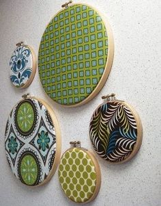 Neat idea: using embroidery hoops as wall art