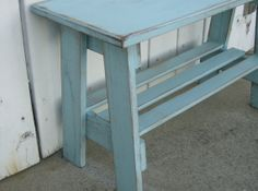 Mission Style Turquoise Distressed Bench by davestradingpost, $49.95 Craftsman Benches, Craftsman Style, Apartment Ideas, Entryway Tables, Turquoise, Furniture, Vintage, Etsy, Home Decor