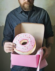 Pink frosted doughnut with sprinkles diecut (wood plaque) by Everyday is a Holiday