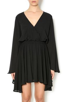 Bell sleeve LBD with a v-neckline, elastic waist and asymmetric sides.   Bell Sleeve Dress by Wells Grace. Clothing - Dresses - Long Sleeve Clothing - Dresses - LBD Clothing - Dresses - Casual Louisiana