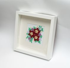 Beautiful Modern Home Decoration Framed Quilling Wall Art Red Flowers 3D Paper Art Etsy PaperParadisePL