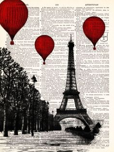 Hot Air Balloons Paris Eiffel Tower Dictionary Book Print | Etsy