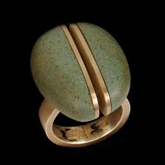 "Ring, ""Kyuma Split"" Sterling Silver, Beach Stone. Artist Andrea Williams"