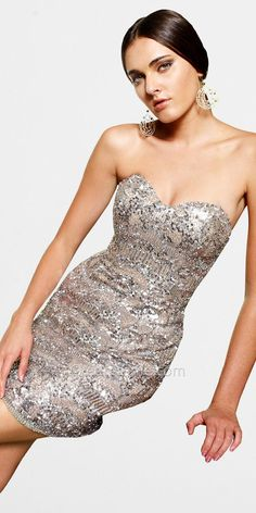 Platinum Sequin Sheath Dresses by Scala