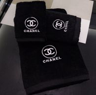 Chanel Inspired Embroidered Blush Pink And Black Towels