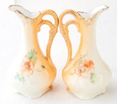 Pitchers Ewers Ceramic Miniature Japanese Pottery Hand Painted Collectible China Poppies Gold Leaf Ornate Handles Set of 2 Etsy Vintage, Vintage Items, Ceramic Pitcher, Japanese Pottery, Gold Accents, Handmade Art, Poppies, Porcelain, Miniatures
