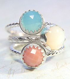 d5c411cecdc7 Romantic Stacking Rings Recycled Sterling Silver Blue Chalcedony