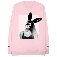 Bunny Ears Pink Crew Neck Sweatshirt Ariana Grande ($65) ❤ liked on Polyvore featuring tops, graphic tops, crew shirt, shirt top, pink shirts and crew-neck tops