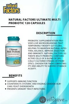 Natural Factors Ultimate Multi Probiotic contains active cells of a blend of specially cultured strains of probiotics, chosen for their compatibility and ability to survive stomach acidity.Natural Factors Ultimate Multi Probiotic provides probiotic strains that support digestive health and immunity. Microorganisms, Factors, Natural, Health, Food, Health Care, Essen, Meals, Nature
