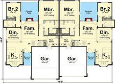 Duplex House Plan with Simple Roof Line - floor plan - Main Level Floor Plans 2 Story, Duplex Floor Plans, Garage Floor Plans, Small House Floor Plans, Simple House Plans, Dream House Plans, The Plan, How To Plan, Duplex Design