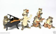 Animals Ceramic Cat Set Playing Music Band Ceramic Hand Painted | eBay