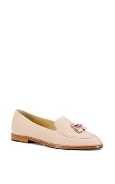 Light pink grained leather helen flat by SARAH FLINT for Preorder on Moda Operandi