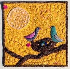 """Nest"" Quilts by Marisela original design. 12""x12"" Machine Applique, Trapunto, Screen Printing and Free Motion Quilting."