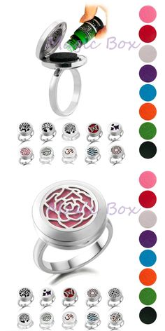 [Visit to Buy] Stainless steel Aromatherapy Essential Oil Diffuser ring with free 8-color cotton pads diffuser jewelry for women family tree #Advertisement