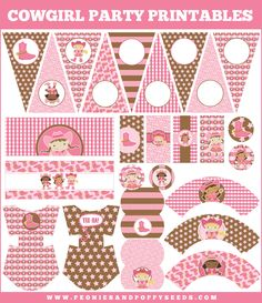 diy cowgirl pink and brown printables birthday party package themed decorations gingham star party banner cupcake toppers wrapper labels