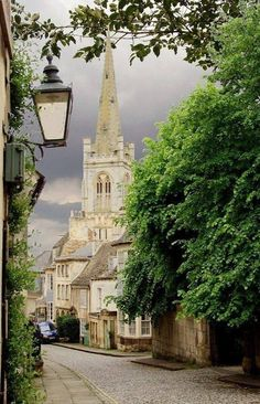 View of Barn Hill and All Saints Church, Stamford, Lincolnshire, England