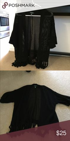 Ralph Lauren black open swing sweater with fringe A wonderful small open swing see through black sweater from Ralph Lauren with fringe. A great sweater to dress up or dress down any look Ralph Lauren Sweaters