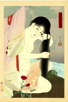Narita Morikane (dates unknown) Twenty-Four Figures of Charming Women: Combing Her Hair (suggested title), woodblock print, ca. Japanese Artwork, Japanese Painting, Japanese Prints, Japanese Illustration, Illustration Art, Geisha Art, Traditional Japanese Art, Orient, Japan Art