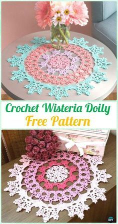Crochet Wisteria Doily Free Pattern - Free Patterns by candace Crochet Dollies, Crochet Doily Patterns, Thread Crochet, Filet Crochet, Crochet Motif, Crochet Stitches, Diy Crochet Doilies, Crochet Dreamcatcher Pattern Free, Crochet Crown