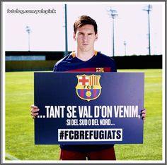 Leo participando de campanha em prol dos refugiados : Hoje tem Barcelona vs Levante no Camp Nou, o jogo começa as 17:30 horário de Brasília. | yolepink