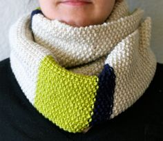 Wide TriColor Scarf Accessory Navy Lime Green Tan. by CMKnitsSF