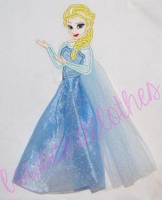 Elsa applique in tulle applique design digital by findmeonFBplease
