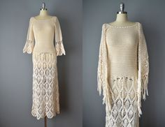 Vintage 70s Ivory Cotton Crocheted Dress by OffBroadwayVintage, $385.00