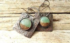 Chrysoprase Bi-Colour Copper Earrings by annamei on Etsy