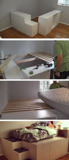Watch this guy transform IKEA kitchen cabinets into a platfo.- Watch this guy transform IKEA kitchen cabinets into a platform bed with storage Watch this guy transform IKEA kitchen cabinets into a platform bed with storage - Platform Bed With Storage, Diy Platform Bed, Ikea Platform Bed Hack, Decor Room, Diy Home Decor, Bedroom Decor, Bedroom Storage, Diy Storage Bed, Bed Frame Storage