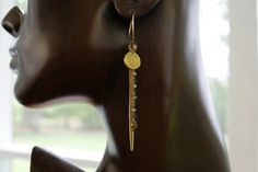 Brass Hill Tribe Etched Mien Charm with Green Quartz Chain Earrings by SuzanneImagines on Etsy