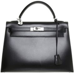 Pre-owned Black 'Kelly Bag 32' (10,015 CAD) ❤ liked on Polyvore featuring bags, handbags, black, black leather purse, black leather bag, real leather purses, black leather handbags and leather bags