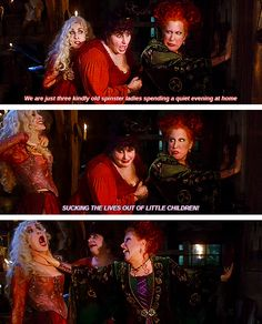 """23 Reasons Why """"Hocus Pocus"""" Is The Best Halloween Movie Of All Time, but my favorite line is """"dost thou comprehend?"""" I still watch this movie every Halloween! Funny Disney, Disney Movies, Walt Disney, Disney Characters, Costume Halloween, Halloween Fun, Halloween Quotes, Halloween Witches, Halloween Table"""