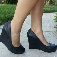 Steve Madden Wedges Black faux leather Round, closed toe 5in Heel Only worn once!! Steve Madden Shoes