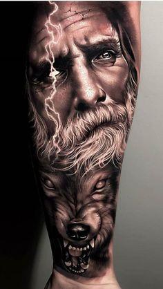 tattoo zeus design \ tattoo zeus + tattoo zeus mythology + tattoo zeus preto e cinza + tattoo zeus poseidon + tattoo zeus greek gods + tattoo zeus design + tattoo zeus realismo + tattoo zeus antebraço Zeus Tattoo, Thor Tattoo, Poseidon Tattoo, Wolf Tattoo Sleeve, Best Sleeve Tattoos, Tattoo Sleeve Designs, Tattoo Designs Men, Viking Tattoo Sleeve, Realistic Tattoo Sleeve