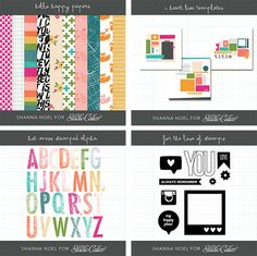 Just some of the digital files you get to play with in Shanna Noel's Beyond the Basic Digital class!