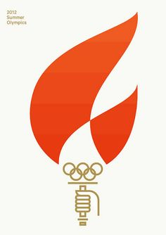 Minimalistic Olympic design. The vibrant red draws the ye and immediately suggest a flame. The image of the hand at the bottom tells the viewer this is an image of a torch, the presence of the Olympic logo just reinforces that message. Very clever.