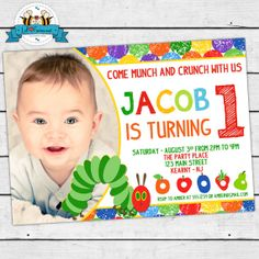The Very Hungry Caterpillar Birthday Party Photo Invitation - Invite Card - Super cute Personalized Printable pdf-  IN-18 on Etsy, $14.95
