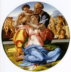 'Doni Madonna' c. 1503 by Michelangelo uses light to portray christian ideals. In this painting of the holy family, light hits Mary's womb significant becuase it reinformes her status as the mother of god from mary's womb god was conceived. Also significant is the fact that the image is lighter in the background on the right side of baby jesus. According the the christian prayer the apostles creed, christ sits at the right hand of god, while the left in christianity is perceived as sinister.