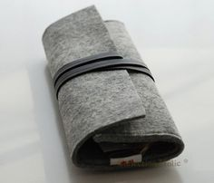 Wool Black Gray Roll Up Pen Pencilcase Cosmetic Wallet