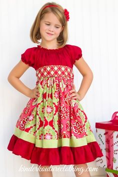 776b0d3295a5 Girls Christmas Dress - apron of red & white, sash of black or plaid · Sewing  Projects ...