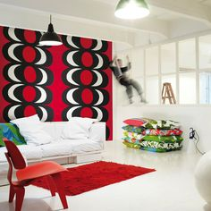 Kaivo Wall Mural Red/Black/White   Kiitos Marimekko