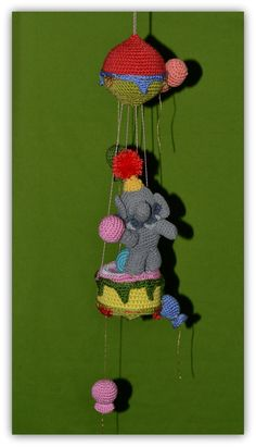Crochet Elephant Circus Mobile by ErikasMagicWardrobe on Etsy, £40.00
