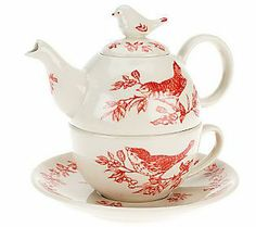 Bird Toile Tea Set For One by Valerie