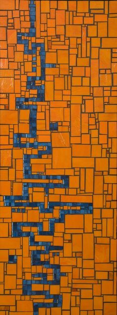 Sara Seggie mosaic in vibrant orange with blue